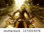 quad biker on a forest path | Shutterstock . vector #1273315078