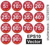 vector   red circle sale price... | Shutterstock .eps vector #127335578