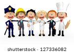 3d group of workers in... | Shutterstock . vector #127336082