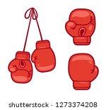 cartoon red boxing gloves set.... | Shutterstock .eps vector #1273374208