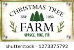 Vintage Sign For Christmas Tre...