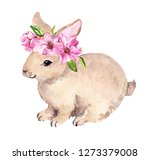Stock photo cute easter bunny in floral wreath with pink spring flowers watercolor with rabbit 1273379008