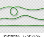 Realistic Green Beads Isolated...