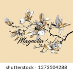floral composition. branch gold ... | Shutterstock .eps vector #1273504288