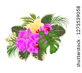 bouquet with tropical flowers... | Shutterstock .eps vector #1273539058