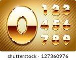 3d joyful set of gold metal... | Shutterstock .eps vector #127360976