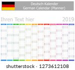 2019 german planner calendar...   Shutterstock .eps vector #1273612108