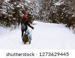 the guy rolls a girl on a sled...   Shutterstock . vector #1273629445