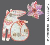 mosaic fox with mosaic flowers. ... | Shutterstock . vector #1273721242