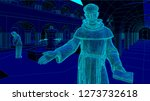 monk in the cloister of a... | Shutterstock .eps vector #1273732618