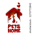 Stock photo pets home logo design template paper art illustration of red dog house with heart shape and dog 1273772842