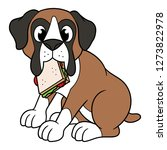 cartoon boxer dog with sandwich ... | Shutterstock .eps vector #1273822978