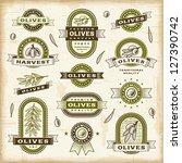 vintage olive labels set | Shutterstock . vector #127390742