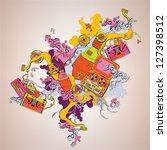 old school illustration  tapes... | Shutterstock .eps vector #127398512
