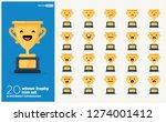 set of cute trophy emoji line... | Shutterstock .eps vector #1274001412