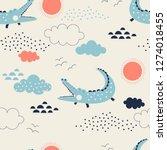 wild savannah with cute... | Shutterstock .eps vector #1274018455