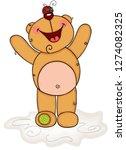 cheerful teddy bear with ladybug | Shutterstock .eps vector #1274082325