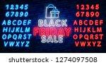 glowing neon sign of black... | Shutterstock .eps vector #1274097508