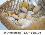 fresh variety of bread in woven ... | Shutterstock . vector #1274110105