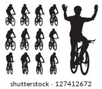 set of cyclist's silhouettes in ... | Shutterstock .eps vector #127412672
