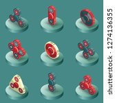 spinners color isometric icons. ... | Shutterstock . vector #1274136355