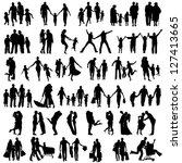 family silhouettes . vector... | Shutterstock .eps vector #127413665
