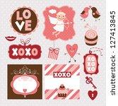 valentine's day elements | Shutterstock .eps vector #127413845
