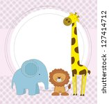 baby shower card with cute... | Shutterstock .eps vector #127414712