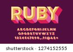colorful chisel style alphabet... | Shutterstock .eps vector #1274152555