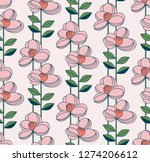 seamless pattern with flowers... | Shutterstock .eps vector #1274206612