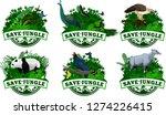 Set Of Vector Jungle Emblems...