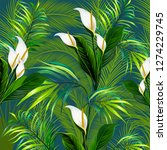 pattern with jungle tropical... | Shutterstock .eps vector #1274229745