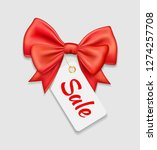 vector red bow ribbon and tag... | Shutterstock .eps vector #1274257708