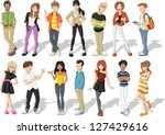 group of happy cartoon young... | Shutterstock .eps vector #127429616