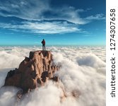 hiker man at the top of the... | Shutterstock . vector #1274307658