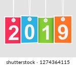 2019 new year on hanging... | Shutterstock . vector #1274364115