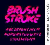 brush stroke alphabet font.... | Shutterstock .eps vector #1274377168