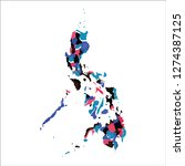 map of philippines. colourful... | Shutterstock .eps vector #1274387125
