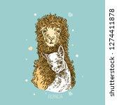 alpaca with a cub. color.... | Shutterstock .eps vector #1274411878