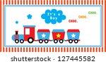 baby boy announcement train   Shutterstock .eps vector #127445582