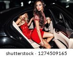 sexy woman couple in the car.... | Shutterstock . vector #1274509165