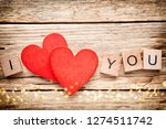 red heart on old wooden... | Shutterstock . vector #1274511742