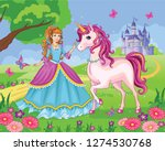 beautiful princess and white... | Shutterstock .eps vector #1274530768