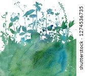 watercoolor green background... | Shutterstock . vector #1274536735