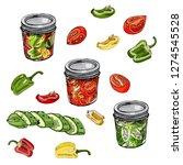 set of assorted homework of... | Shutterstock .eps vector #1274545528