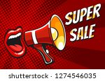 open female mouth and megaphone ... | Shutterstock . vector #1274546035
