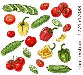 assorted of vegetables. red ... | Shutterstock .eps vector #1274547088