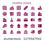 muffin icon set. 30 filled...   Shutterstock .eps vector #1274567542