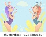 ute bunny girls.  artoon...   Shutterstock .eps vector #1274580862