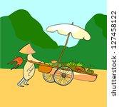 asian fruit seller pushing his... | Shutterstock .eps vector #127458122